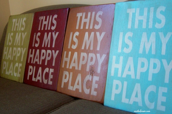 "This Is My Happy Place - 12"" x 18"" Plywood Hand Painted Sign"