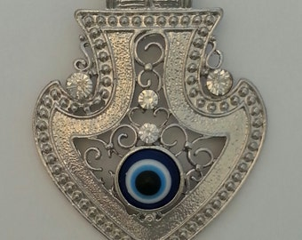 Pewter Eye Pendant with Crystal.