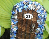 Miniature Wood Fairy Hobbit Garden Door Dark Wood Blue Shells