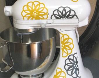 Kitchen Aid Vinyl Decals-Spirograph Flower, Dual Color Mixer Decals