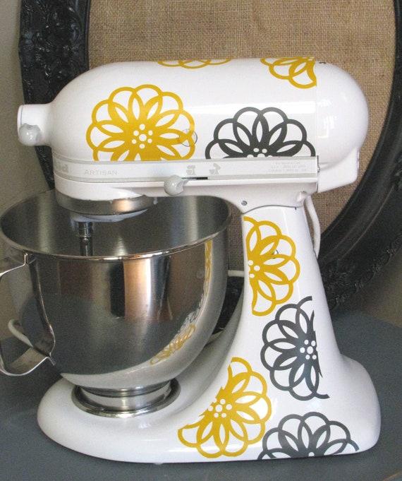 Kitchen Mixer Vinyl Decals ~ Kitchen aid vinyl decals spirograph flower dual color mixer