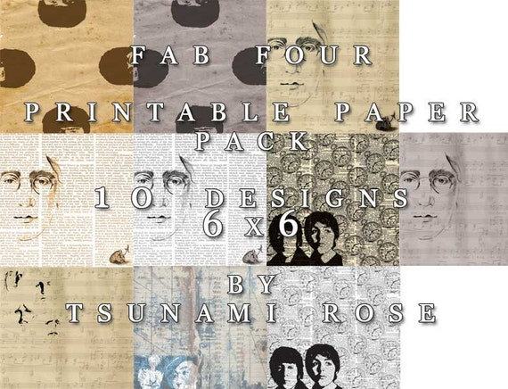 "6x6 Vintage Digital Printable Scrapbook Paper- ""Fab Four PAPER PACK"""