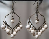 Handmade Chandelier earrings with White Howlite round beads