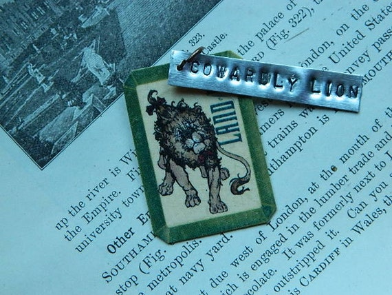 Wizard of Oz vintage style Cowardly Lion charm and handstamped tag Steampunk Sarah Wood