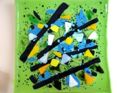 Fused glass plate--Titled 'Sticks and stones13