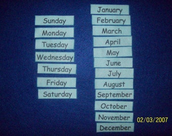 Days of the Week & Months of the Year, FELT - or - LAMINATED, Kids, Educational Toy, Homeschool, Kindergarten, 1st Grade, Learning, Calendar