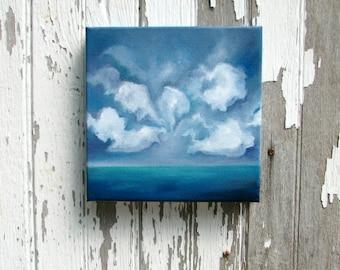 Seascape oil painting original art clouds home decor painting 8x8  - Destination Unknown