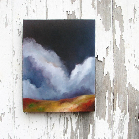 Original oil painting landscape home decor thunderstorm clouds rustic earthy colors big sky - The Beginning of the Journey