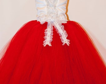 Flower Girl Tutu Dress Red and White Christmas Floor Length Sewn with Satin Corset Top Lace Straps and Satin Flower Hair Clip CUSTOMIZABLE