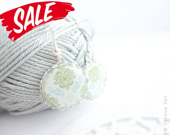 SALE - Light green and blue damask earrings