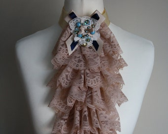 Beige lace jabot FREE UK SHIPPING