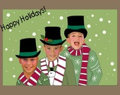 Personailzed Holiday christmas card funny fun unique happy holiday new years Kids cards child family photo card
