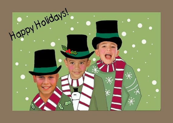 Personailzed holiday christmas card funny fun by heartfullines for Unique family christmas cards