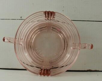 Vintage Round Pink Depression Glass Dish handles