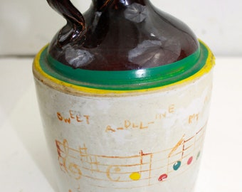 Vintage Stoneware Jug Whiskey jug Painted Jug for Olive Oil Sweet Adeline Primitive Musicians Gift Piano Player