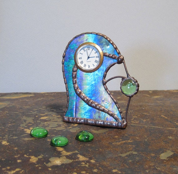 Unique Stained Glass Desk Clock, Blue, Green, Purple and Gold, Gift