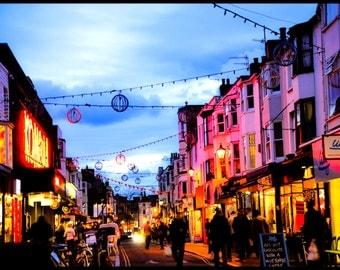 BRIGHTON ENGLAND STREET Night Street Photo Brighton England Photographic Photo Print