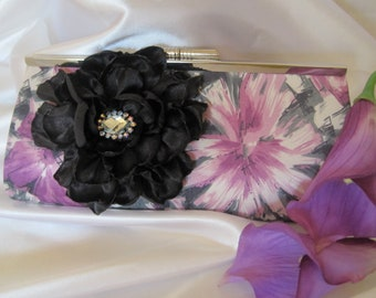 SALE   Lavender Purple and Black Flower Print  Satin Clutch with a Black Open Rose and  Rhinestone Accent