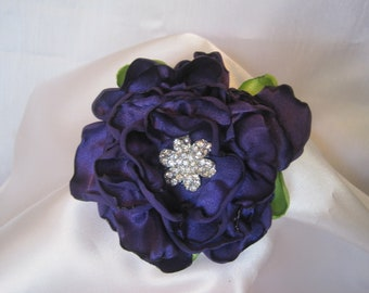 Flower Pin Hair Clip Brooch in a Deep Purple Satin with a Gorgeous Rhinestone Accent.