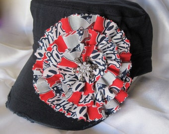 SALE...Navy Cadet Military Distressed Hat  with a New England Patriots Colored Fabric Flower and a Silver and Rhinestone Accent