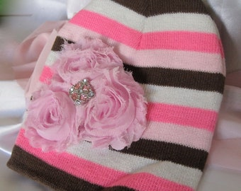 Pink Brown and White Striped Baby Beanie with Three Pink Satin Flowers and Pink Accent Fits up to Six Months