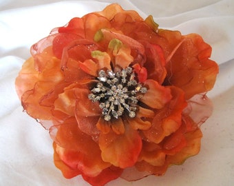 Coral Orange  Bridal Wedding Fascinator Hair Clip Brooch Pin with Sparkle Organza and a Vintage Rhinestone Accent...SALE