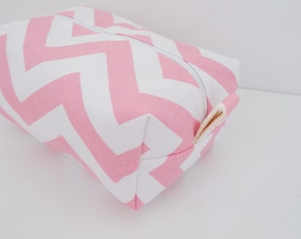 Pink Chevron Makeup Bag  - Cosmetic Pouch -  Lunch Bag - Wet Bag -Waterproof Bag