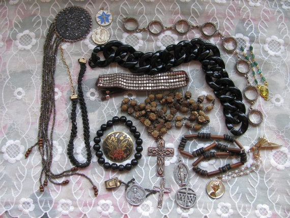 Destash Craft Lot of Vintage Jewelry, Brooches Earrings & More