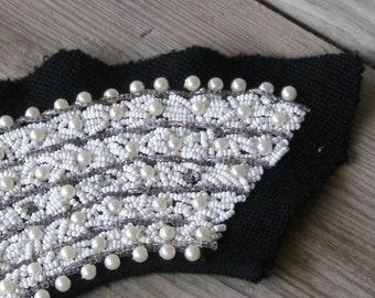 Beads Rhinestones & Pearls Vintage Collar and Placket