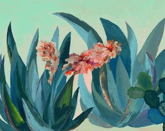 Aloe plants garden - illustration - silkscreen - giclee print