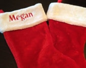 Personalized red plush stocking