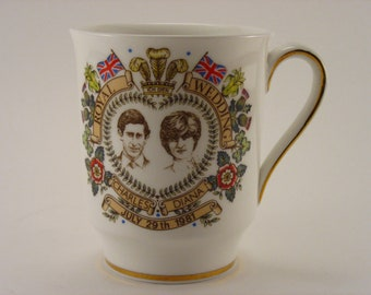 Royal Wedding Mug Cup Charles and Diana July 29th, 1981 Hammersley Bone China Made in England
