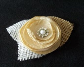Wedding Hair Clip Accessory Tea Dyed Flower Rosette with Pearl Center Accented with Burlap & Tulle