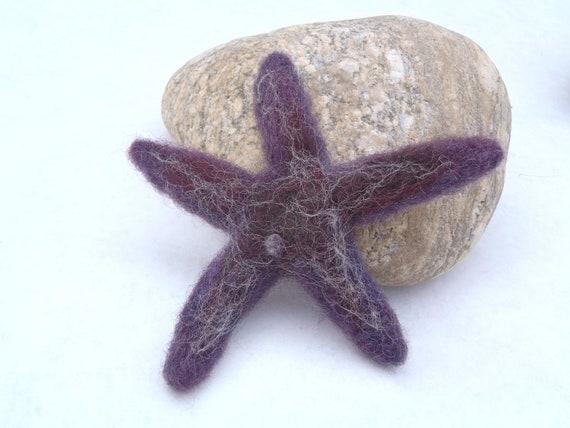 Felted Starfish, Purple sea star, needlefelted animal