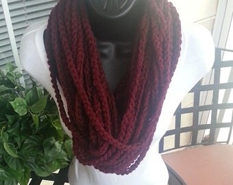 Chunky Infinity Crochet Scarf Eternity Necklace Burgrundy Claret Maroon
