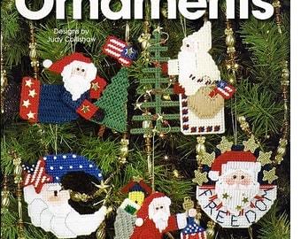 Patriotic Santa Ornaments  Plastic Canvas Pattern Book  The Needlecraft Shop 844832