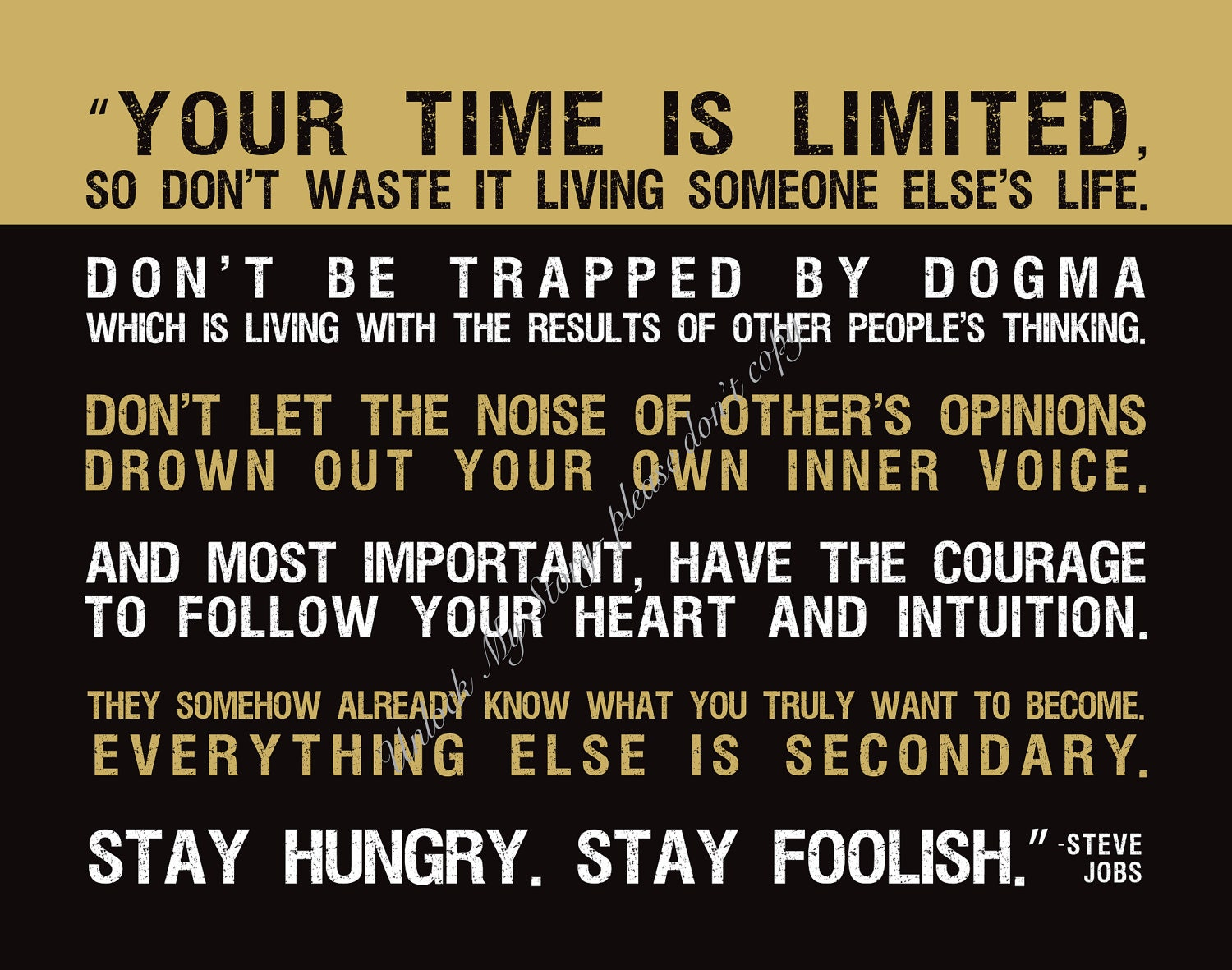 your time is limited steve jobs quote custom 11 x 14 canvas