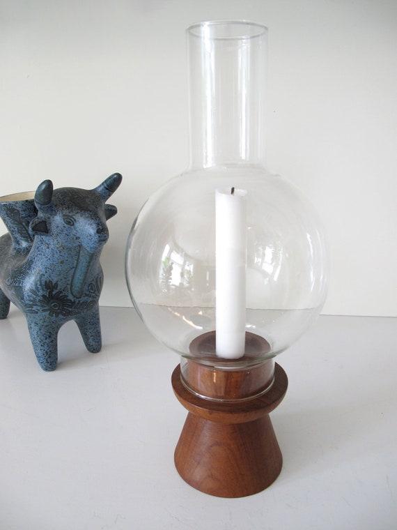 Mid Century Teak Hurricane Lamp