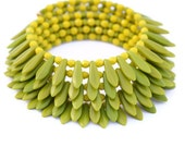 Wrap Bracelet: Lime green and bright yellow beaded bracelet. Fashion bracelet. 5-layer wrap bracelet.