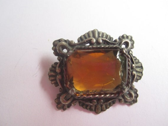Victorian Pewter Amber Glass Stone 1900s Vintage Jewelry