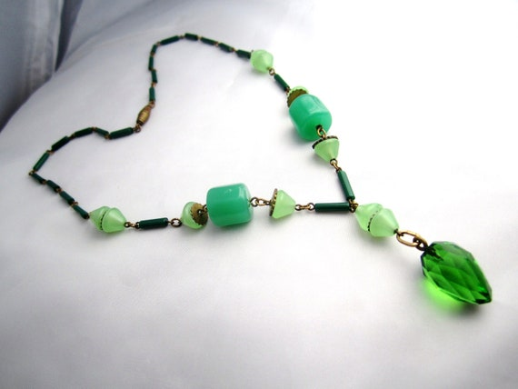 RESERVED Art Deco Necklace Czech Glass Green Pendant 1920s Vintage Wedding Great Gatsby