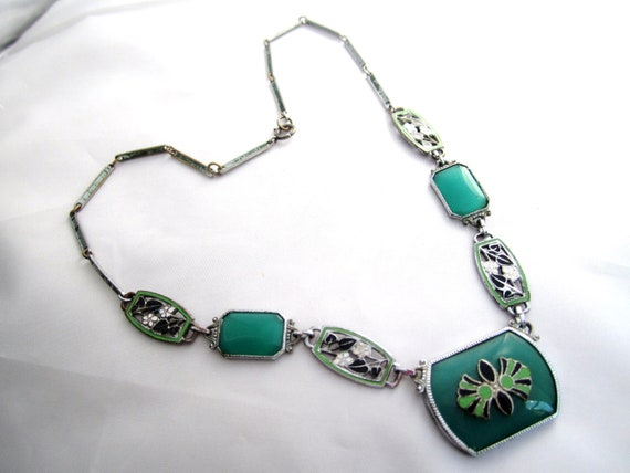 RESERVED Art Deco Necklace Green Enamel Flower 1920s Vintage Jewelry Great Gatsby