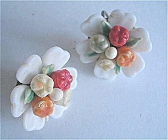 Art Deco Milk Glass Fruit Salad Flower Earrings 1930s Vintage Jewelry Great Gatsby