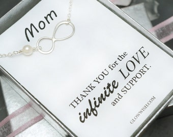 Mother of the bride or mother of the groom card, mothers gift with infinity bracelet, pearl bracelet, mother in law gift