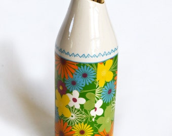 Ceramic  vase diagonal flowers pattern colorful