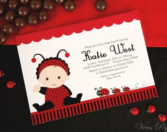 DIY PRINTABLE Invitation Card - Red Lady Bug Baby Shower Invitation - BS815CB1a1