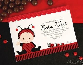 diy printable invitation card red lady bug baby shower invitation bs815cb1a1