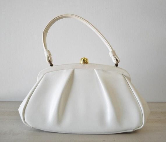 1950s vintage....white snap closure purse--Grace Kelly design