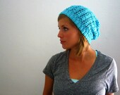 Teal Slouch Hat - Recycled Yarn, FREE SHIPPING