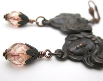 Art Nouveau Earrings Antique Pink Jugedstil Nymph Victorian Jewelry Rusty Black Copper Plated Brass Big Earrings Lady Face Dark Patina